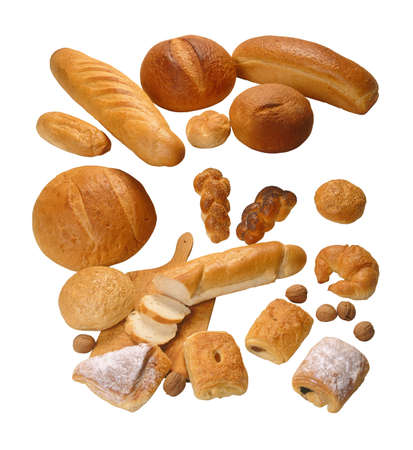 edibles: Assorted composition of breads isolated on white background