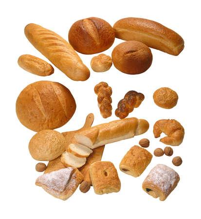 edibles: Assorted composizione di pane isolato su sfondo bianco