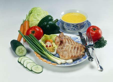 Rich beefsteak menu with miscellaneous vegetables