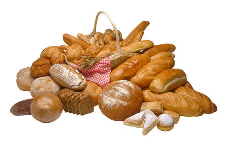 calorie rich food: Assorted composition of breads isolated on white background