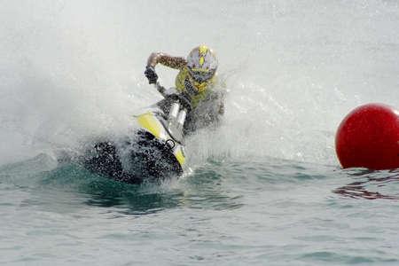 jet skier: Jet ski rider on the race