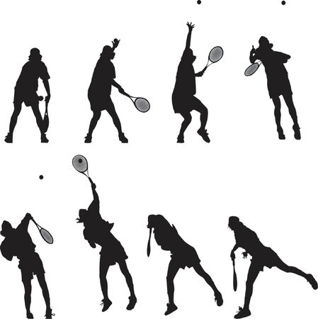 Silhouetted tennis service in motion