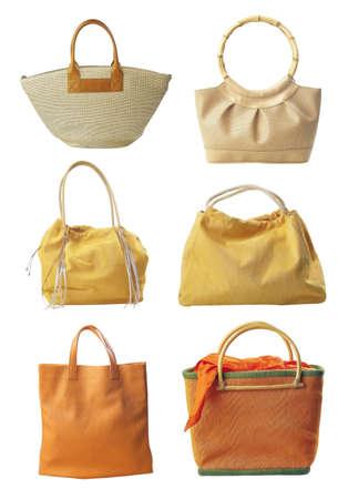 Sechs Handtasche isoliert auf weißem Hintergrund  Standard-Bild