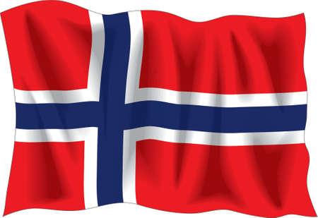 Agitando bandera de Noruega aislados en blanco