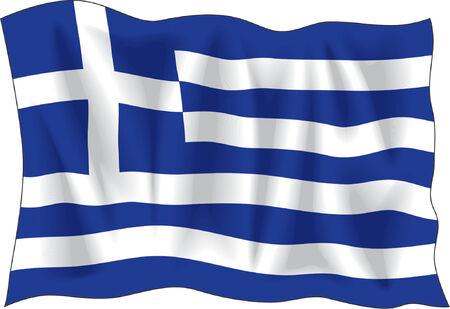 Winkenden Flagge von Griechenland isoliert auf weißem  Vektorgrafik
