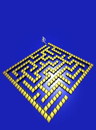 contemplating: Golden 3D maze Stock Photo