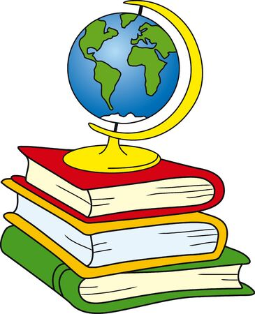 Globe on books Stock Vector - 1684189