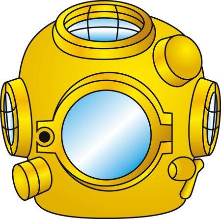 Vintage onderwater helm Vector Illustratie