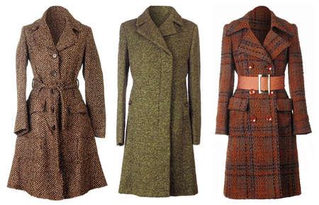 seasonable: Three woolen coats isolated on white background Stock Photo