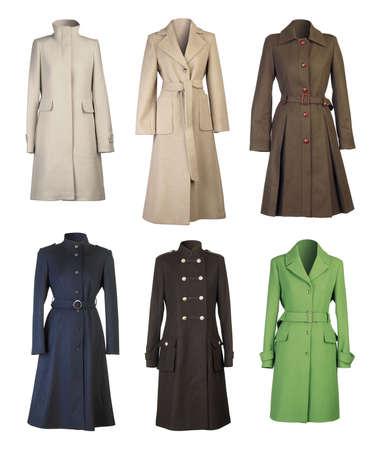 seasonable: Six woman coats isolated on white background