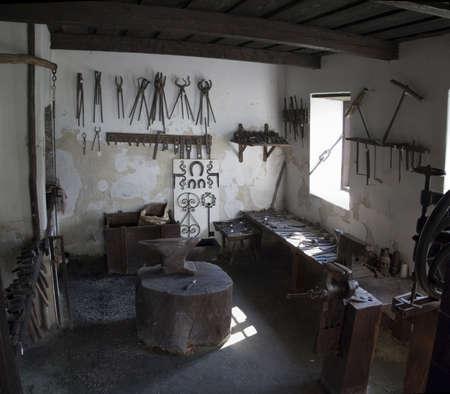 forge: Old ruin blacksmith Stock Photo