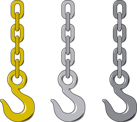 Vector illustration of three different chain and hook
