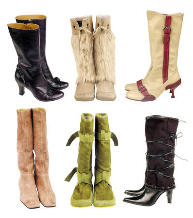 Six pair of women boots on the white background Stock Photo - 3754787