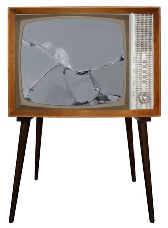 Broken screen of Old Television 스톡 콘텐츠