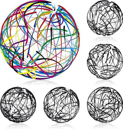 Scribble bolas ilustrado iconos vectoriales