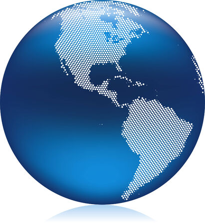 Vector illustration du globe terrestre bleu brillant