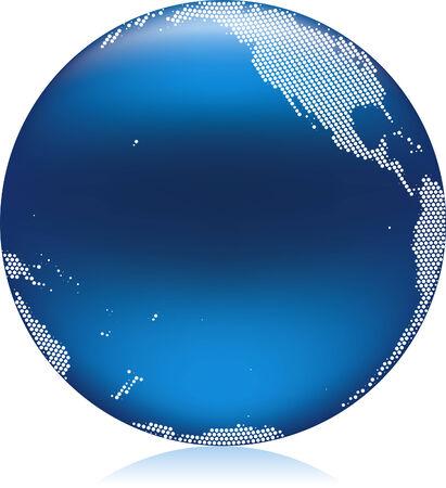 Vector illustration of shiny blue Earth globe, Pacific area Stock Vector - 4865602