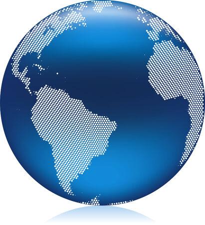 반짝이 푸른 지구 지구본 라운드 패턴 점, 미국, 아프리카와 대서양 지역 벡터 일러스트 레이 션