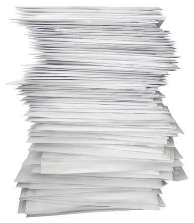 Stack of white letters isolated with path Standard-Bild