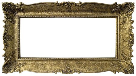 Old gilded wooden frame isolated with clipping inside and outside