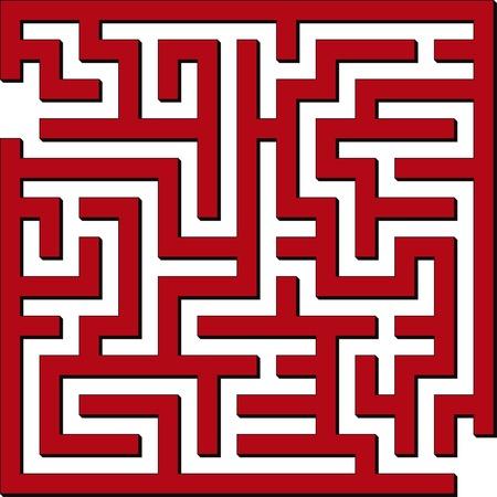 간단한 빨간색 미로의 벡터 일러스트 일러스트