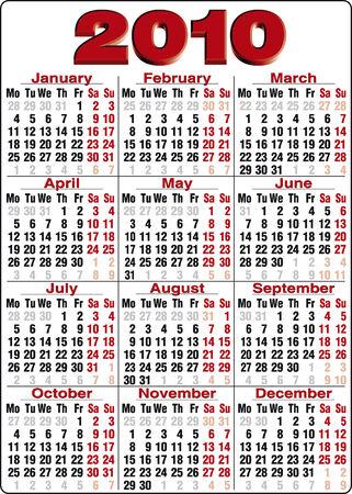 2010 년 정확한 달력