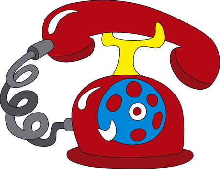 Vector illustration of old rotary red telephone Illustration