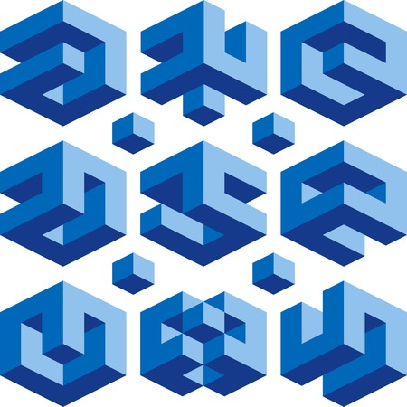 Blue Cube vector signs for construction business Illustration
