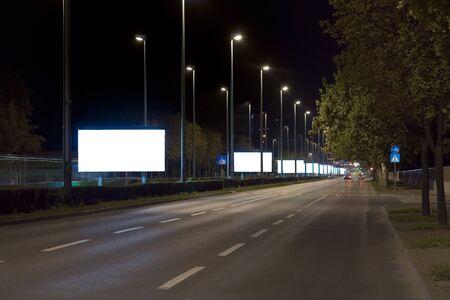 Empty billboards in the night Standard-Bild