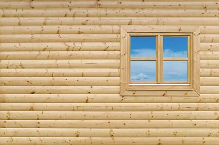New Wooden cottage exterior facade wall background with closed window Standard-Bild