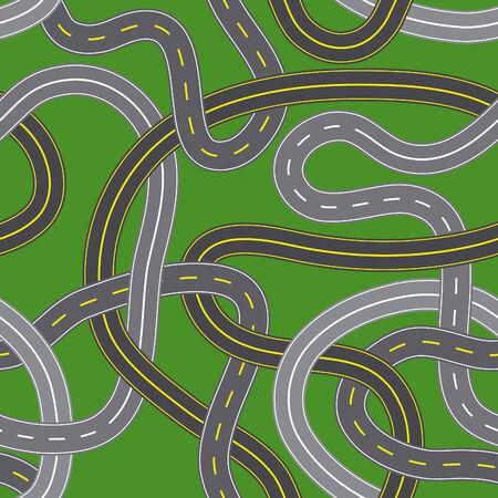 Illustration of seamless crossroads