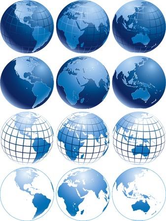 다른 모양을 가진 세 가지 다른 반짝이 푸른 지구 글로브의 벡터 일러스트 레이 션 일러스트