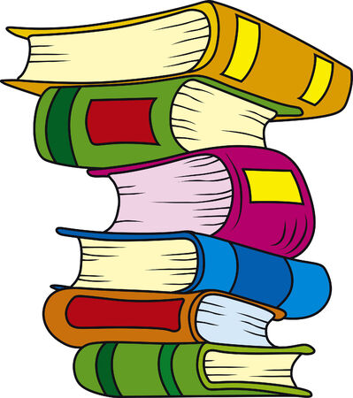 illustration of six books in stack