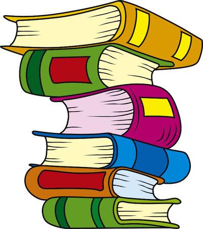 illustration of six books in stack Illustration