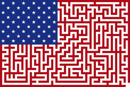 Illustration abstraite du drapeau américain maze