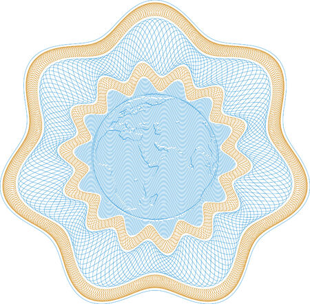 Secured Guilloche rosette with embossed globe, elements are in layers for easy editing