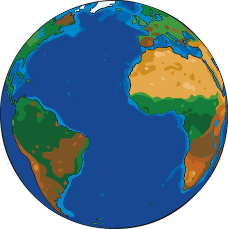 Cartoon Vector drawing of the planet earth Illustration