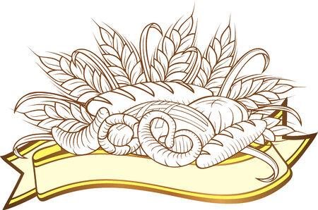 illustration of breads in engraved stile