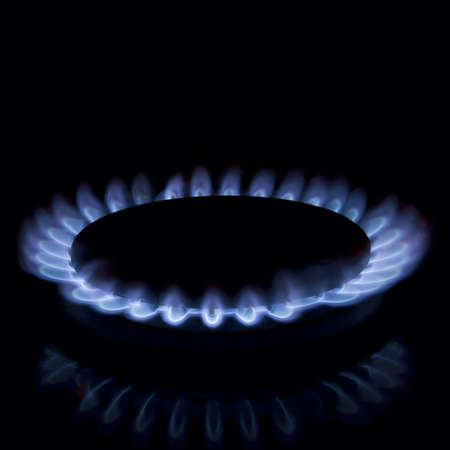 Full focus of Gas burner isolated on black beckground photo