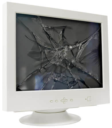 trashed: Broken computer monitor Stock Photo