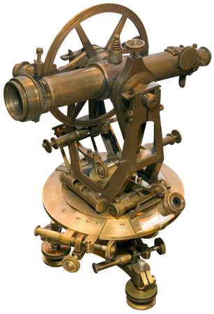 Alte isoliert Messing-Theodolit  Standard-Bild