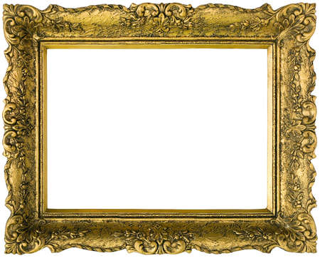 Old gilded golden wooden frame photo