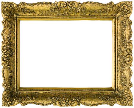 Old gilded golden wooden frame photo