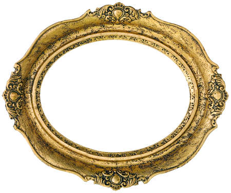 Old gilded golden wooden frame isolated inside and outside