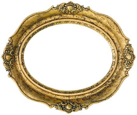 ovalo: Antiguo marco dorado de madera dorada aislado dentro y fuera de