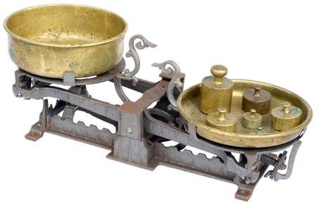 Old balance scale isolated on white background Stock Photo