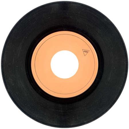 白い背景で隔離された空の蓄音機ビニール レコード 写真素材