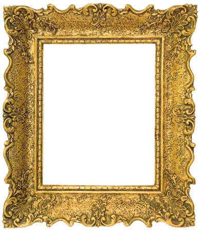 Old gilded golden wooden frame isolated