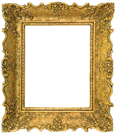 baroque picture frame: Old gilded golden wooden frame isolated