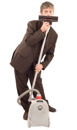 Businessman speak through vacuum cleaner isolated on white background Stock Photo - 11874469